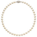 Estate Jewelry:Necklaces, Cultured Pearl, Diamond, Gold Necklace. . ...