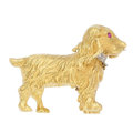 Estate Jewelry:Brooches - Pins, Diamond, Ruby, Gold Brooch, English. . ...