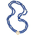 Estate Jewelry:Necklaces, Lapis Lazuli, Gold Necklace. . ...