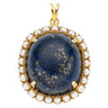 Estate Jewelry:Pendants and Lockets, Lapis Lazuli, Cultured Pearl, Gold Pendant. . ...