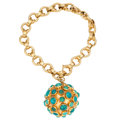 Estate Jewelry:Bracelets, Turquoise, Gold Bracelet. . ...
