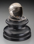 Decorative Arts, Continental:Other , A Continental Silver-Plated Racing Helmet Trophy, 1st half 20thcentury. 7 inches high (17.8 cm). ...
