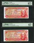 Canadian Currency: , BC-51b $50 1975 Two Consecutive Examples.. ... (Total: 2 notes)