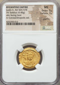 Ancients:Byzantine, Ancients: Justin II (AD 565-578). AV solidus (4.48 gm). NGC MS 5/5 - 3/5, graffito....