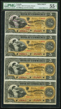 Canadian Currency, Toronto, ON- Canadian Bank of Commerce $5 Jan. 2, 1888 Ch. #75-14-02S Specimen, Uncut Sheet of Four.. ...