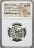 Ancients:Roman Provincial , Ancients: SYRIA. Antioch. Time of Octavian as Sole Imperator (31-27BC). AR tetradrachm. NGC Choice XF....