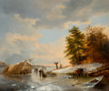 Fine Art - Painting, European:Antique  (Pre 1900), P. F. Rommel (French, 19th Century). Figures on frozen winterlandscape. Oil on panel. 21 x 25 inches (53.3 x 63.5 cm). ...