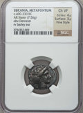 Ancients:Greek, Ancients: LUCANIA. Metapontum. Ca. 400-330 BC. AR stater (7.56 gm).NGC Choice VF 4/5 - 3/5, Fine Style....