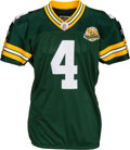 Football Collectibles:Uniforms, 2007 Brett Favre 250th Consecutive Start Game Worn Green Bay Packers Jersey with Favre Letter - Photo Matched....