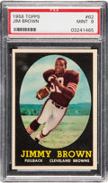 Football Cards:Singles (1950-1959), 1958 Topps Jim Brown #62 Rookie PSA Mint 9....