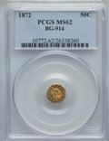 California Fractional Gold , 1872 50C Liberty Octagonal 50 Cents, BG-914, R.4, MS62 PCGS. PCGSPopulation: (17/37). NGC Census: (4/11). ...