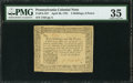 Colonial Notes:Pennsylvania, Pennsylvania April 20, 1781 2s/6d PMG Choice Very Fine 35.. ...
