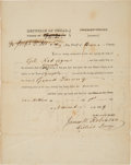 Autographs:Statesmen, James W. Robinson County of Bexar Order....