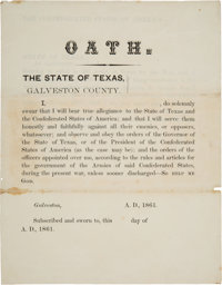 [Texas C.S.A.]. Galveston County Unengrossed Soldier's Enlistment Certificate