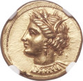 Ancients:Greek, Ancients: ZEUGITANA. Carthage. Ca. 350-320 BC. AV stater (19mm, 9.47 gm, 1h). NGC MS ★ 5/5 - 3/5, Fine Styl...