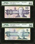 Canadian Currency: , BC-56aS $5 1986 Specimen,. BC-57aS $10 1989 Specimen.. ... (Total: 2 notes)
