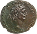 Ancients:Roman Imperial, Ancients: Trajan (AD 98-117). Æ as (28mm, 12.29 gm, 6h). NGC ChoiceAU 4/5 - 5/5, Fine Style....