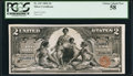Large Size:Silver Certificates, Fr. 247 $2 1896 Silver Certificate PCGS Choice About New 58.. ...