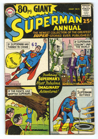 80 Pg. Giant #1 Superman Annual (DC, 1964) Condition: VG. Originally planned as Superman Annual #9. Curt Swan cover. Swa...