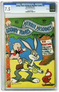 Looney Tunes and Merrie Melodies Comics #31 File Copy (Dell, 1944) CGC VF- 7.5 Cream to off-white pages. Overstreet 2005...