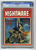 "Bronze Age (1970-1979):Horror, Nightmare #9 (Skywald, 1972) CGC NM 9.4 Off-white pages. First H.P. Lovecraft ""Saggoth Chronicles"" story. Review of ""Dr. Ph..."
