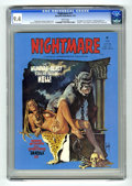 """Bronze Age (1970-1979):Horror, Nightmare #17 (Skywald, 1974) CGC NM 9.4 White pages.Vampire-themed issue. Christopher Lee interview. """"Autobiography ofa V..."""