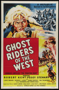 "Movie Posters:Serial, Ghost Riders of the West (Republic, R-1954). One Sheet (27"" X 41""). Originally released as a serial under the title ""The Pha..."