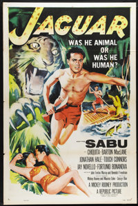 """Jaguar (Republic, 1955). One Sheet (27"""" X 41""""). Mickey Rooney produced this adventure about a falsely accused..."""