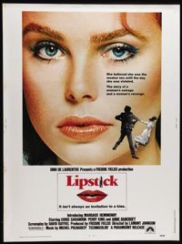 "Lipstick (Paramount, 1976). Poster (30"" X 40""). Margaux Hemingway made her film debut in this drama about a ra..."
