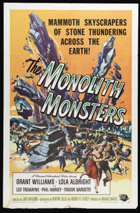 "The Monolith Monsters (Universal International, 1957). One Sheet (27"" X 41""). A meteor crashes near the town o..."