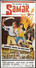 """Movie Posters:Adventure, Samar (Warner Brothers, 1962). Three Sheet (41"""" X 81"""").GeorgeMontgomery stars and directs this historical adventure set in ..."""