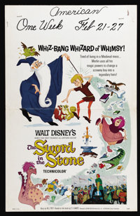 """The Sword in the Stone (Buena Vista, 1963). Window Card (14"""" X 22""""). Disney's animated retelling of the legend..."""