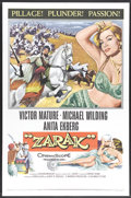 "Movie Posters:Adventure, Zarak (Columbia, 1956). One Sheet (27"" X 41""). Victor Mature,Michael Wilding and Anita Ekberg star in this adventure yarn a..."