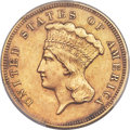 Three Dollar Gold Pieces, 1865 $3 -- Smoothed -- PCGS Genuine. AU Details....