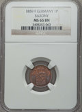 German States:Saxony, German States: Saxony. Johann V Pfennig 1859-F MS65 Brown NGC,...