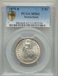 Switzerland: Confederation 2 Francs 1879-B MS62 PCGS