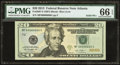 Solid Six Serial Number Fr. 2097-F $20 2013 Federal Reserve Note. PMG Gem Uncirculated 66 EPQ