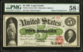 Error Notes:Large Size Errors, Fr. 61a $5 1862 Legal Tender PMG Choice About Unc 58 EPQ.. ...