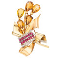 Estate Jewelry:Brooches - Pins, Retro Citrine, Diamond, Synthetic Ruby, Gold Brooch. . ...