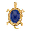 Estate Jewelry:Brooches - Pins, Lapis Lazuli, Gold Pendant-Brooch. . ...