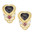 Estate Jewelry:Earrings, Iolite, Tourmaline, Diamond, Gold Earrings. . ... (Total: 2 Items)