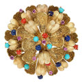 Estate Jewelry:Brooches - Pins, Multi-Stone, Gold Pendant-Brooch. . ...
