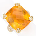 Estate Jewelry:Rings, Citrine, Diamond, Gold Ring. . ...