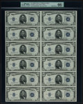 Small Size:Silver Certificates, Fr. 1654 $5 1934D Wide I Silver Certificates. Uncut Sheet of Twelve. PMG Gem Uncirculated 66 EPQ.. ...