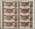 Confederate Notes:1864 Issues, T68 $10 1864 PF-44 Cr. 552 Uncut Sheet of Eight.. ...