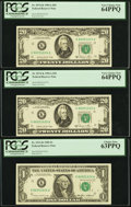 Error Notes:Major Errors, Fr. 2074-K/1913-K $20/$1 1985 Federal Reserve Notes. ThreeConsecutive Examples. PCGS Very Choice New 64PPQ (2) and 63PPQ..... (Total: 3 notes)