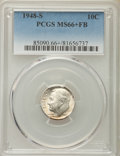 Roosevelt Dimes, 1948-S 10C MS66+ Full Bands PCGS. PCGS Population: (315/126). NGC Census: (234/134). Mintage 35,520,000....