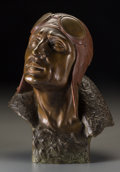 Bronze:European, A Patinated Bronze Bust of an Aviator, 20th century. Marks: S.Norgg. 13 inches high (33.0 cm). ...