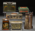 Decorative Arts, British:Other , A Group of Six Arts & Crafts Biscuit Tins, early 20th century.W. Dunmore & Son, Crumpsall, Huntley & Palmers, PeekFrean ... (Total: 6 Items)