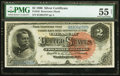 Large Size:Silver Certificates, Fr. 242 $2 1886 Silver Certificate PMG About Uncirculated 55 Net.. ...